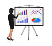 Woman drawing graph — Stock Photo