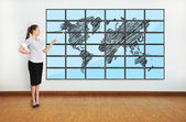World map on plasma — Stock Photo