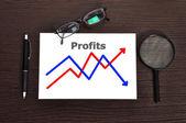 Chart profits on paper — Stock Photo