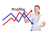 Businesswoman drawing graph — Stockfoto