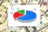 Paper with pie chart — Stock Photo