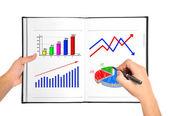 Wykres wzrostu w książce — Zdjęcie stockowe