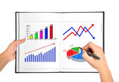 Chart of growth in book — Stock Photo