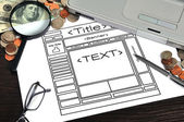 Paper with template web page — Stock Photo