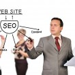 Man drawing seo scheme — Stock Photo
