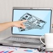 Laptop with dollars — Stock Photo