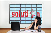 Businesswoman looking at solution — Stock Photo