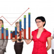 Women drawing graph — Stock Photo