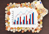 Chart and money — Stockfoto
