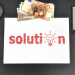 Office desktop with solution — Stock Photo