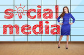 Social media on plasma — Stock Photo