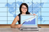 Laptop with chart — Stock Photo