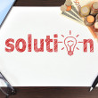 Solution and money — Stock Photo