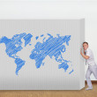 Wall with world map — Stock Photo