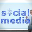 Virtual screen with social media — Stock Photo