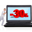 Laptop with discount — Stock Photo