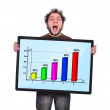 Crazy man and graph — Stock Photo