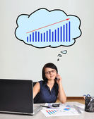Businesswoman and chart — Stock Photo