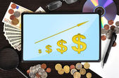 Tablet with dollar chart — Stock Photo