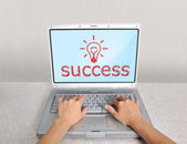 Laptop with success — Stock Photo