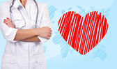 Doctor and heart — Stock Photo