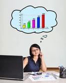 Empresaria y gráfico — Foto de Stock
