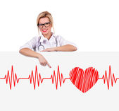 Poster with electrocardiogram — Stock Photo