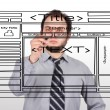 Businessman drawing website — Stock Photo