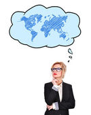 Businesswoman thinking about travel — Stock Photo