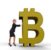 Businesswoman pushing bitcoin — Stock Photo