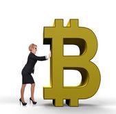 Podnikatelka tlačí bitcoin — Stock fotografie