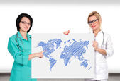Poster with world map — Stock Photo