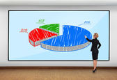 Woman pointing to chart — Stock Photo