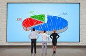 Plasma panel with chart — Stock Photo