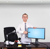 Businessman pointing to monitor — Foto Stock
