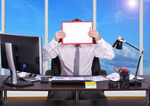 Businessman holding  clopboard — Foto Stock