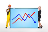 Plasma panel with graph — Stock Photo