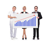 Businesspeople holding graph — Stock Photo