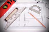 Blueprint och verktyg — Stockfoto