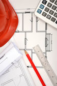 Blueprint, calculator and tools — Stock Photo