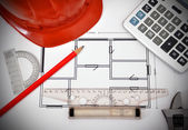 Tools and  apartment  blueprint — Stock Photo