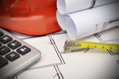 Tape line, calculator and project — Stock Photo