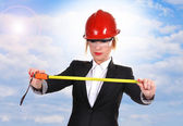 Engineer woman with ruler — Stock Photo