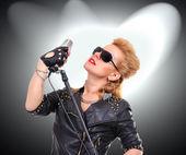 Rock girl singer — Foto Stock