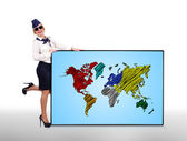 Plasma panel with world map — Stock Photo