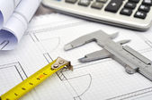 Tools and  blueprint — Stock Photo