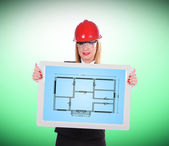 Touch pad with blueprint — Stock Photo