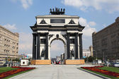 Triumphal Arch in Moscow, built in honor of the victory of the Russian in the war of 1812. Kutuzov Avenue in Moscow. — Stock Photo