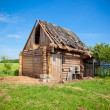 Old dilapidated wooden shed  Village — Stock Photo