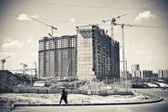 Major construction of residential complex. Construction cranes. — Stock Photo